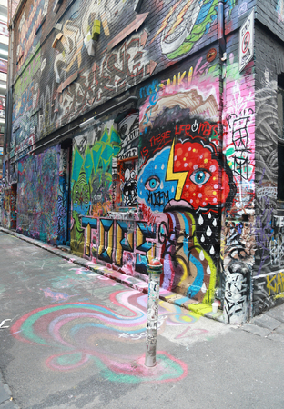 one lane: MELBOURNE, AUSTRALIA - JANUARY 28, 2016: Hosier lane street art is one of the major tourists attraction in Melbourne. Hosier lane is famous for its street graffiti arts made by local artists.
