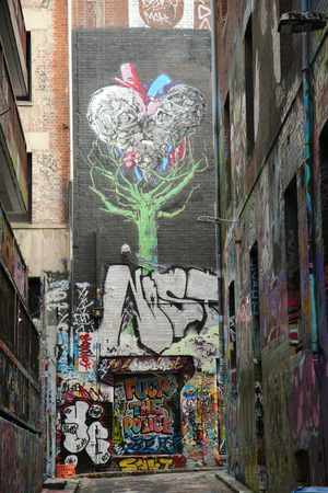 one lane: MELBOURNE, AUSTRALIA - JANUARY 24, 2016: Hosier lane street art is one of the major tourists attraction in Melbourne. Hosier lane is famous for its street graffiti arts made by local artists. Editorial