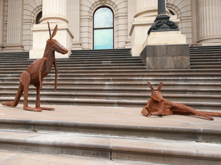 invade: MELBOURNE, AUSTRALIA - JANUARY 27, 2016: Kangaroos Invade Parliament House installation by Richard Savage during Australia Day 2016 in Melbourne