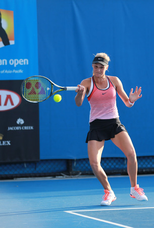 doubles: MELBOURNE, AUSTRALIA - JANUARY 30, 2016: Junior tennis player Dayana Yastremska of Ukraine in action during her doubles final match at Australian Open 2016 in Melbourne Park