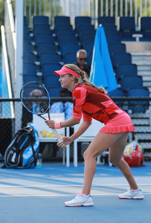 doubles: MELBOURNE, AUSTRALIA - JANUARY 30, 2016: Junior tennis players Teresa Mihalikova of Slovakia in action during doubles final match at Australian Open 2016 in Melbourne Park
