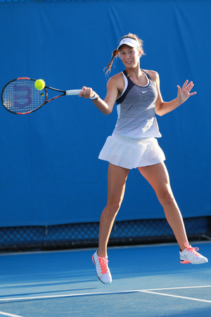 doubles: MELBOURNE, AUSTRALIA - JANUARY 30, 2016: Junior tennis players Anna Kalinskaya of Russia in action during doubles final match at Australian Open 2016 in Melbourne Park Editorial