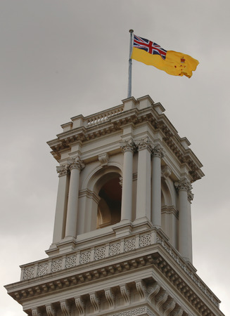 governor: MELBOURNE, AUSTRALIA - JANUARY 31, 2016: The belvedere tower of Government House, Melbourne with the flag of the Governor of Victoria raised. Editorial