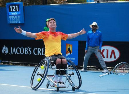 grand slam: MELBOURNE, AUSTRALIA - JANUARY 30, 2016: Grand Slam champion Gordon Reid of Great Britain celebrates victory after Australian Open 2016 wheelchair singles final match in Melbourne Park