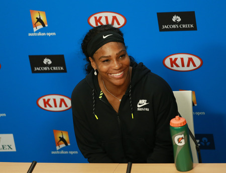 williams: MELBOURNE, AUSTRALIA - JANUARY 30, 2016: Twenty one times Grand Slam champion Serena Williams during press conference after loss at Australian Open 2016 final at Australian tennis center Editorial