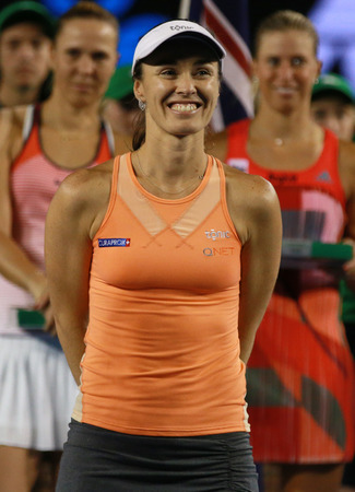 doubles: MELBOURNE, AUSTRALIA - JANUARY 30, 2016: Grand Slam champion Martina Hingis of Switzerland during trophy presentation after doubles final match at Australian Open 2016
