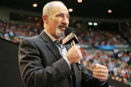 MELBOURNE, AUSTRALIA - JANUARY 29, 2016: ESPN analyst Brad Gilbert comments Australian Open 2016 semifinal match at Rod Laver Arena in Melbourne Park