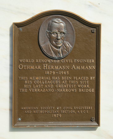 renown: NEW YORK - FEBRUARY 28, 2016: Sign at the Verrazano Narrows Bridge in the memory of well renown civil engineer Othmar Ammann. He was a Swiss-American engineer who designed  Verrazano-Narrows Bridge