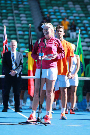 finalist: MELBOURNE, AUSTRALIA - JANUARY 31, 2016: Grand Slam finalist Coco Vandeweghe of United States during trophy presentation after mixed doubles final match at Australian Open 2016