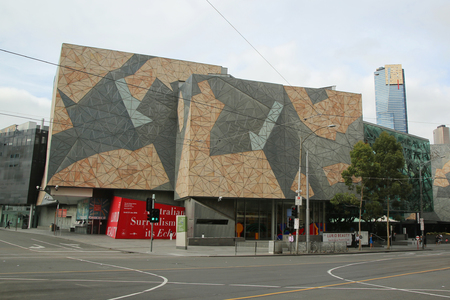 ngv: MELBOURNE, AUSTRALIA - JANUARY 24, 2016:  The Ian Potter Centre at National Gallery of Victoria at Federation Square in Melbourne Editorial
