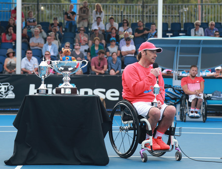 wagner: MELBOURNE, AUSTRALIA - JANUARY 30, 2016: Grand Slam finalist David Wagner of United States during trophy presentation after Australian Open 2016 quad wheelchair singles final match in Melbourne Park