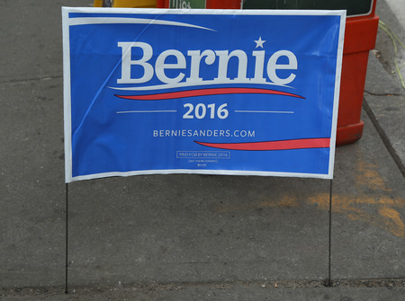 nomination: NEW YORK - MARCH 10, 2016: A  sign in support of presidential candidate Bernie Sanders on display in Manhattan Editorial