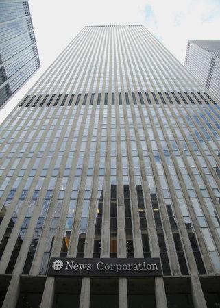 NEW YORK - MARCH 10, 2016: News Corporation headquarters building  in New York City. News Corporation is an American diversified multinational mass media corporation. Редакционное