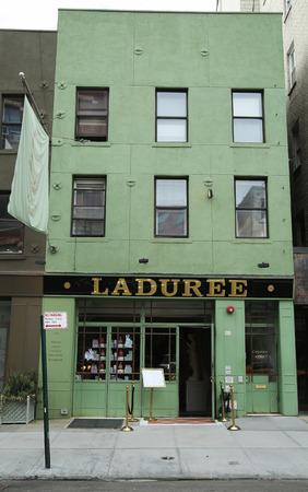 ganache: NEW YORK CITY - MARCH 10, 2016: Famous Laduree bakery and tea room in Soho in New York City. Laduree is a French luxury bakery and sweets maker house created in 1862 Editorial