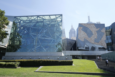federation: MELBOURNE, AUSTRALIA - JANUARY 25, 2016: Federation Square in Melbourne.  Popular site for locals and visitors, also known as Fed Square was opened in 2002. Editorial