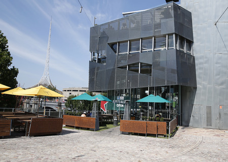ngv: MELBOURNE, AUSTRALIA - JANUARY 25, 2016: Popular restaurants at Federation Square in Melbourne. Popular site for locals and visitors, also known as Fed Square was opened in 2002.