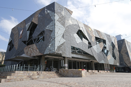 federation: MELBOURNE, AUSTRALIA - JANUARY 25, 2016: Australian Centre for the Moving Image at Federation Square in Melbourne. Popular site for locals and visitors, also known as Fed Square was opened in 2002.