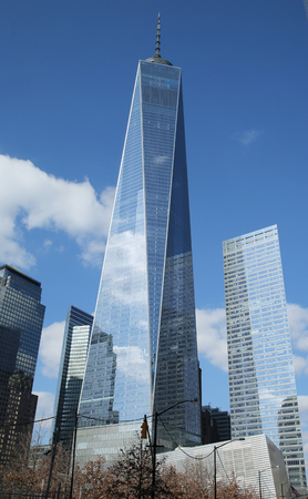 9 11: NEW YORK - MARCH 6, 2016: Freedom Tower in Lower Manhattan. One World Trade Center is the tallest building in the Western Hemisphere and the third-tallest building in the world