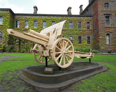 captured: MELBOURNE, AUSTRALIA - JANUARY 27, 2016: Turkish 5.9 Inch Howitzer captured by the Australian Mounted Division in the front of Victoria Barracks in Melbourne, Australia.