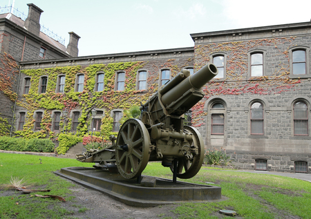 MELBOURNE, AUSTRALIA - JANUARY 27, 2016: German 8 inch Howitzer captured by the by the divisions A.I.F on the Hindenburg Outpost Line in the front of Victoria Barracks in Melbourne, Australia.