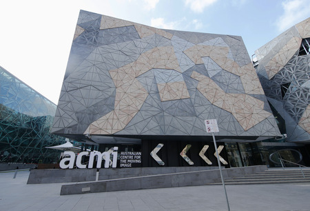 ngv: MELBOURNE, AUSTRALIA - JANUARY 25, 2016: Australian Centre for the Moving Image at Federation Square in Melbourne. Popular site for locals and visitors, also known as Fed Square was opened in 2002.