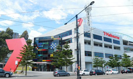 MELBOURNE, AUSTRALIA - JANUARY 31, 2016: Channel 7 Australia TV station Broadcast Centre in  Melbourne. Its the centre of programming operations for the entire Seven Network