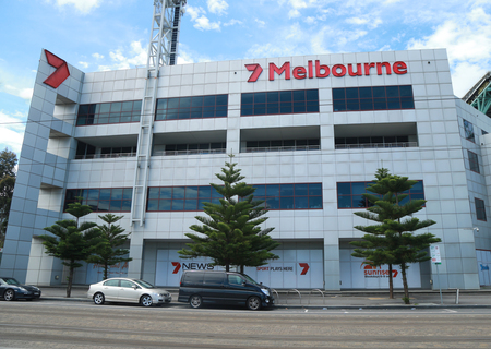 sports programme: MELBOURNE, AUSTRALIA - JANUARY 31, 2016: Channel 7 Australia TV station Broadcast Centre in  Melbourne. Its the centre of programming operations for the entire Seven Networ