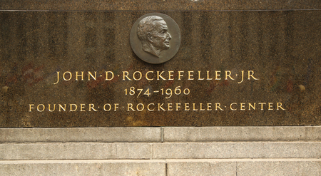 memorial plaque: NEW YORK - MARCH 10, 2016: John D. Rockefeller, Jr. memorial plaque at Rockefeller Center. Rockefeller Center was built by the Rockefeller family during the Great Depression.