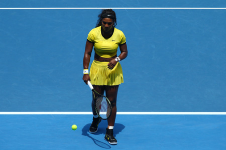 williams: MELBOURNE, AUSTRALIA - JANUARY 26, 2016:  Twenty one times Grand Slam champion Serena Williams in action during her quarter final match at Australian Open 2016 at Australian tennis center in Melbourne