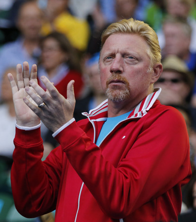 boris: MELBOURNE, AUSTRALIA - JANUARY 24, 2016: Six times Grand Slam champion Boris Becker supports Novak Djokovic of Serbia during his round 4 match at Australian Open 2016 at Rod Laver Arena