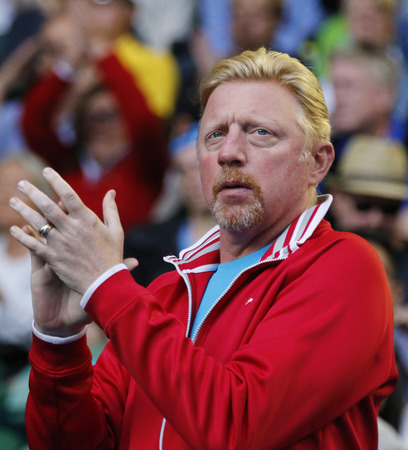 MELBOURNE, AUSTRALIA - JANUARY 24, 2016: Six times Grand Slam champion Boris Becker supports Novak Djokovic of Serbia during his round 4 match at Australian Open 2016 at Rod Laver Arena