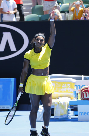 twenty one: MELBOURNE, AUSTRALIA - JANUARY 24, 2016: Twenty one times Grand Slam champion Serena Williams celebrates victory after round 4 match at Australian Open 2016 at Australian tennis center
