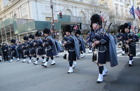 st  patrick s day: NEW YORK - MARCH 17, 2016: Police Pipes and Drums of Bergen County marching at the St. Patrick s Day Parade in New York.
