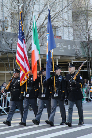 st  patrick s day: NEW YORK - MARCH 17, 2016: The Color Guard of the Paramus Police marching at the St. Patrick s Day Parade in New York. Editorial