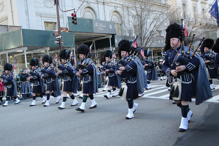st  patrick s: NEW YORK - MARCH 17, 2016: Police Pipes and Drums of Bergen County marching at the St. Patrick s Day Parade in New York.