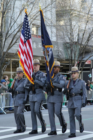 police state: NEW YORK - MARCH 17, 2016: The Color Guard of the New York State Police marching at the St. Patrick s Day Parade in New York. Editorial