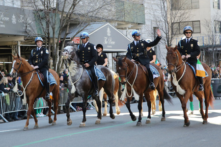 police unit: NEW YORK - MARCH 17, 2016: The United States Park Police Horse Mounted Unit participate at the St. Patrick s Day Parade in New York.