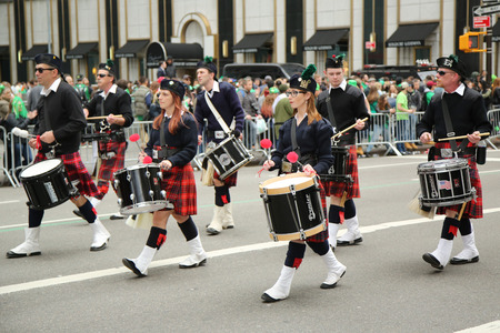 st  patrick s: NEW YORK - MARCH 17, 2016: Drummers marching at the St. Patrick s Day Parade in New York.