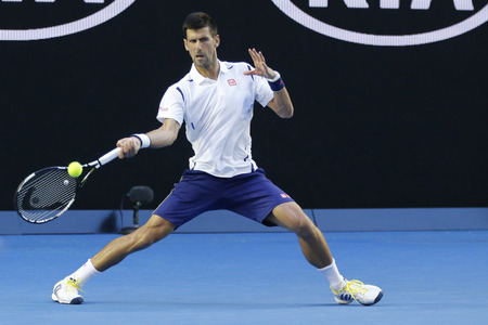 MELBOURNE, AUSTRALIA - JANUARY 24, 2016: Eleven times Grand Slam champion Novak Djokovic of Serbia in action during his round 4 match at Australian Open 2016 at Rod Laver Arena in Melbourne Park