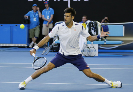 grand slam: MELBOURNE, AUSTRALIA - JANUARY 24, 2016: Eleven times Grand Slam champion Novak Djokovic of Serbia in action during his round 4 match at Australian Open 2016 at Rod Laver Arena in Melbourne Park
