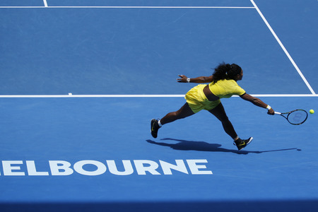 williams: MELBOURNE, AUSTRALIA - JANUARY 24, 2016: Twenty one times Grand Slam champion Serena Williams in action during her round 4 match at Australian Open 2016 at Rod Laver Arena in Melbourne