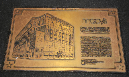 herald: NEW YORK - MARCH 22, 2016: Sign marks the centennial of its Macy s Herald Square Building The world s largest store in midtown Manhattan