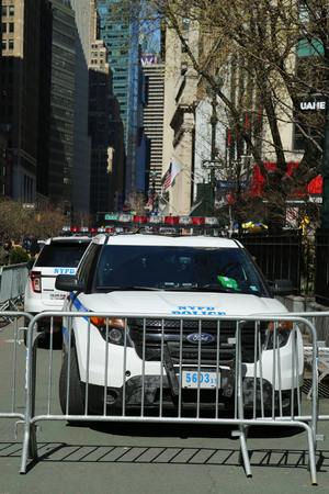 NEW YORK - MARCH 22, 2016: NYPD car provide security at Herald Square in Midtown Manhattan