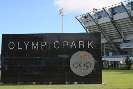 olympiad: MELBOURNE, AUSTRALIA - JANUARY 23, 2016: Sign at Olympic Park in Melbourne, Australia. The 1956 Summer Olympics were an international multi-sport event which was held in Melbourne, Victoria, Australia
