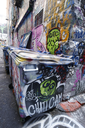 one lane: MELBOURNE, AUSTRALIA - JANUARY 25, 2016: Hosier lane street art is one of the major tourists attraction in Melbourne. Hosier lane is famous for its street graffiti arts made by local artists.