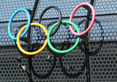 olympic rings: MELBOURNE, AUSTRALIA - JANUARY 23, 2016: Olympic rings at Olympic Park in Melbourne, Australia. The 1956 Summer Olympics were an international multi-sport event which was held in Melbourne,  Australia