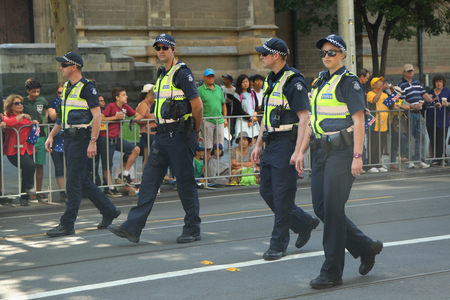 MELBOURNE, AUSTRALIA - JANUARY 25, 2016: Victoria Police Constable providing security during Australia Day Parade in Melbourne Editorial