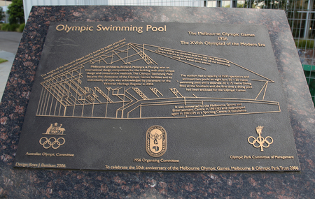 olympics: MELBOURNE, AUSTRALIA - JANUARY 23, 2016: Olympic Swimming Pool sign at Olympic Park in Melbourne, Australia. The 1956 Summer Olympics was held in Melbourne, Victoria, Australia