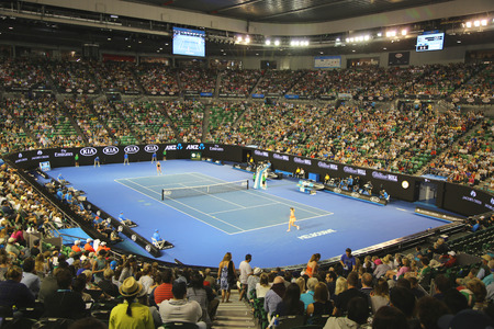 MELBOURNE, AUSTRALIA - JANUARY 23, 2016: Rod Laver Arena during Australian Open 2016 match at Australian tennis center in Melbourne Park. It is the main venue for the Australian Open since 1988 新闻类图片