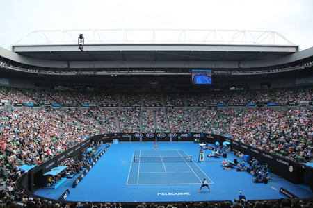 MELBOURNE, AUSTRALIA - JANUARY 25, 2016: Rod Laver arena during Australian Open 2016 match at Australian tennis center in Melbourne Park. It is the main venue for the Australian Open since 1988